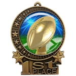 "3"" Football Medal with Epoxy Dome XMD-D20"