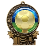 "3"" Soccer Medal with Epoxy Dome XMD-D30"