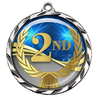 "2-1/4"" 2nd Place Medal with Epoxy Dome 022-D02"