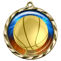 "2-1/4"" Basketball Medal with Epoxy Dome 022-D10"