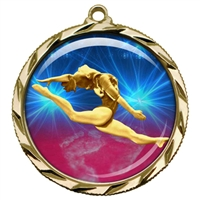 "2-1/4"" Female Gymnastics Medal with Epoxy Dome 022-D22"