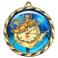 "2-1/4"" Swimming Medal with Epoxy Dome 022-D65"
