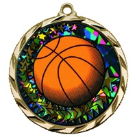 "2-1/4"" Bright Edge Holographic Diamond Basketball Medal 022-DM410"