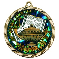 "2-1/4"" Bright Edge Holographic Diamond Book & Lamp Medal 022-DM415"