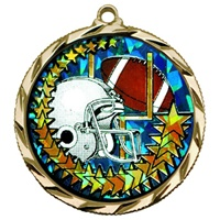 "2-1/4"" Bright Edge Holographic Diamond Football Medal 022-DM425"