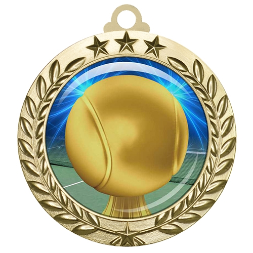 "2-3/4"" Tennis Medal with Epoxy Dome 030-D84"