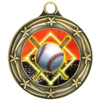 "3"" Star Full Color Baseball Diamond Medals 033A-FCL-5"