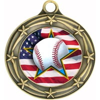 "3"" Star Flag Baseball Medal 033A-FCL-700"