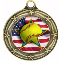 "3"" Star Flag Softball Medal 033A-FCL-727"