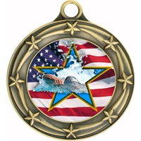 "3"" Star Flag Swimming Medal 033A-FCL-728"