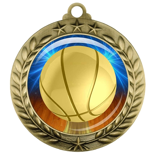 "2-3/4"" Basketball Medal with Epoxy Dome 039-D10"