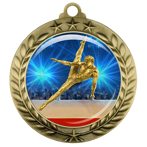 "2-3/4"" Male Gymnastics Medal with Epoxy Dome 039-D24"