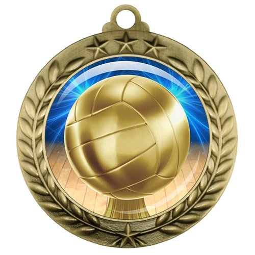 "2-3/4"" Volleyball Medal with Epoxy Dome 039-D45"