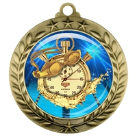 "2-3/4"" Swimming Medal with Epoxy Dome 039-D65"