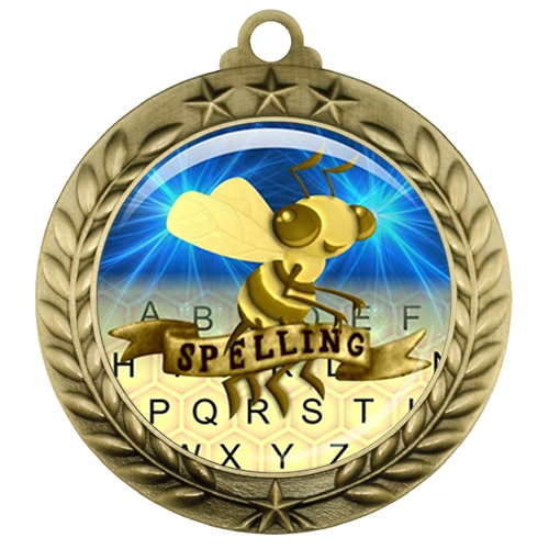 "2-3/4"" Spelling Bee Medal with Epoxy Dome 039-D77"