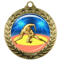 "2-3/4"" Wrestling Medal with Epoxy Dome 039-D90"