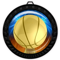 "2-1/2"" Black Basketball Medal with Epoxy Dome 052-D10"