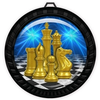 "2-1/2"" Black Chess Medal with Epoxy Dome 052-D17"