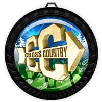 "2-1/2"" Black Cross Country Medal with Epoxy Dome 052-D18"