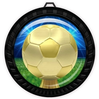 "2-1/2"" Black Soccer Medal with Epoxy Dome 052-D30"