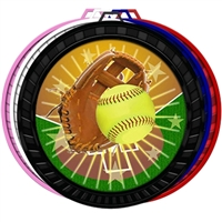 "2-1/2"" Color Softball Medal 052-FCL138"