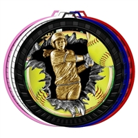 "2-1/2"" Color Burst Softball Medal 052-FCL767"