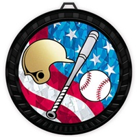 "2-1/2"" Color USA Baseball-Ball & Bat Medal 052-MY533"