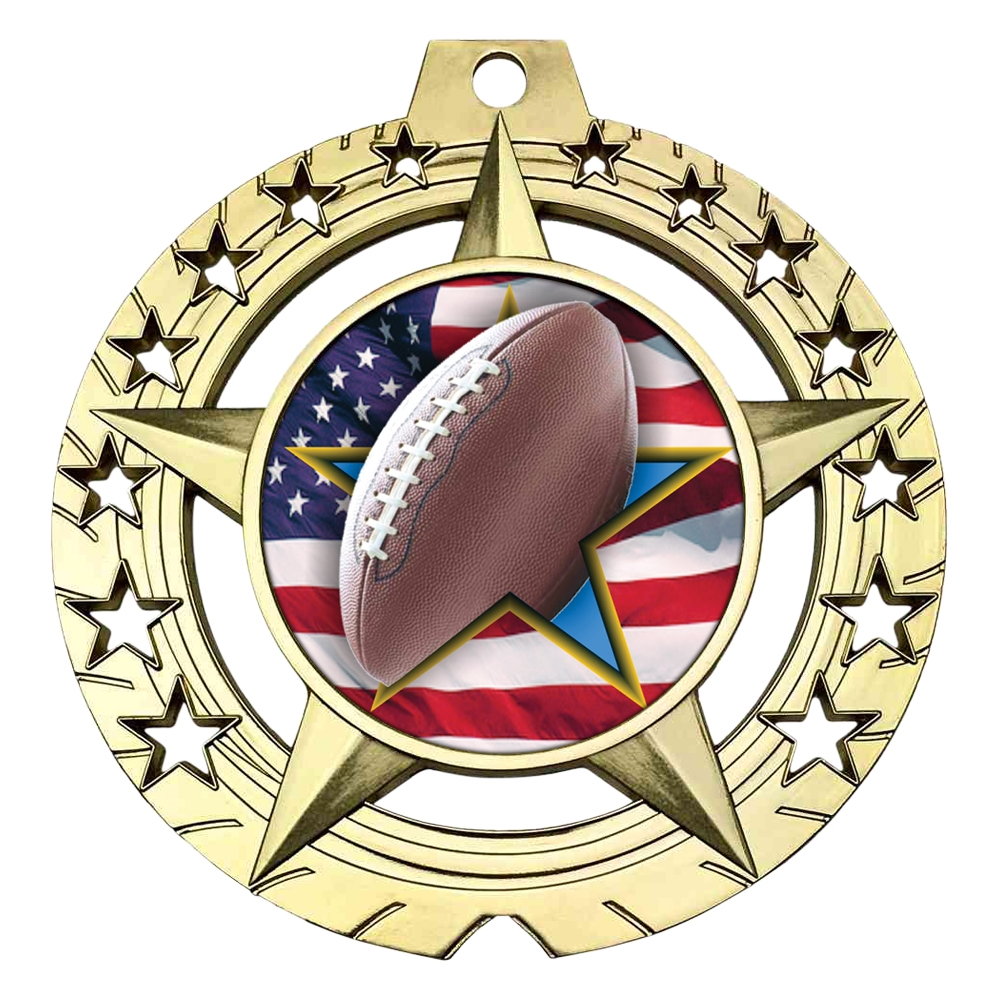 "Large 3-3/4"" Football Medal"
