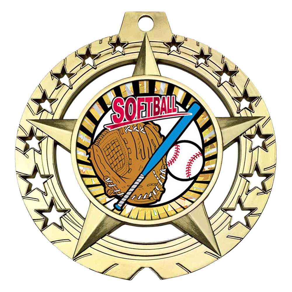 "Large 3-3/4"" Softball Medal"