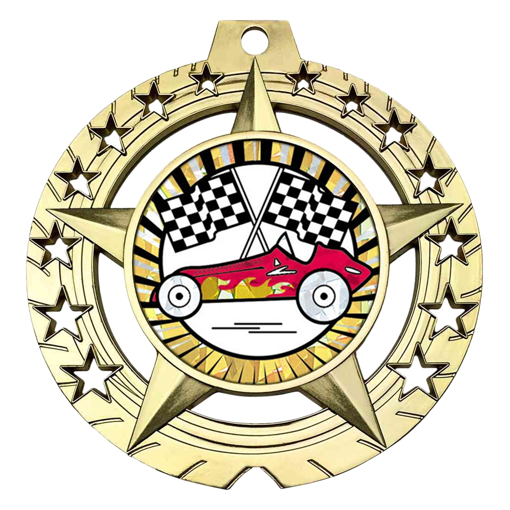 "Large 3-3/4"" Pinewood Derby Medal"