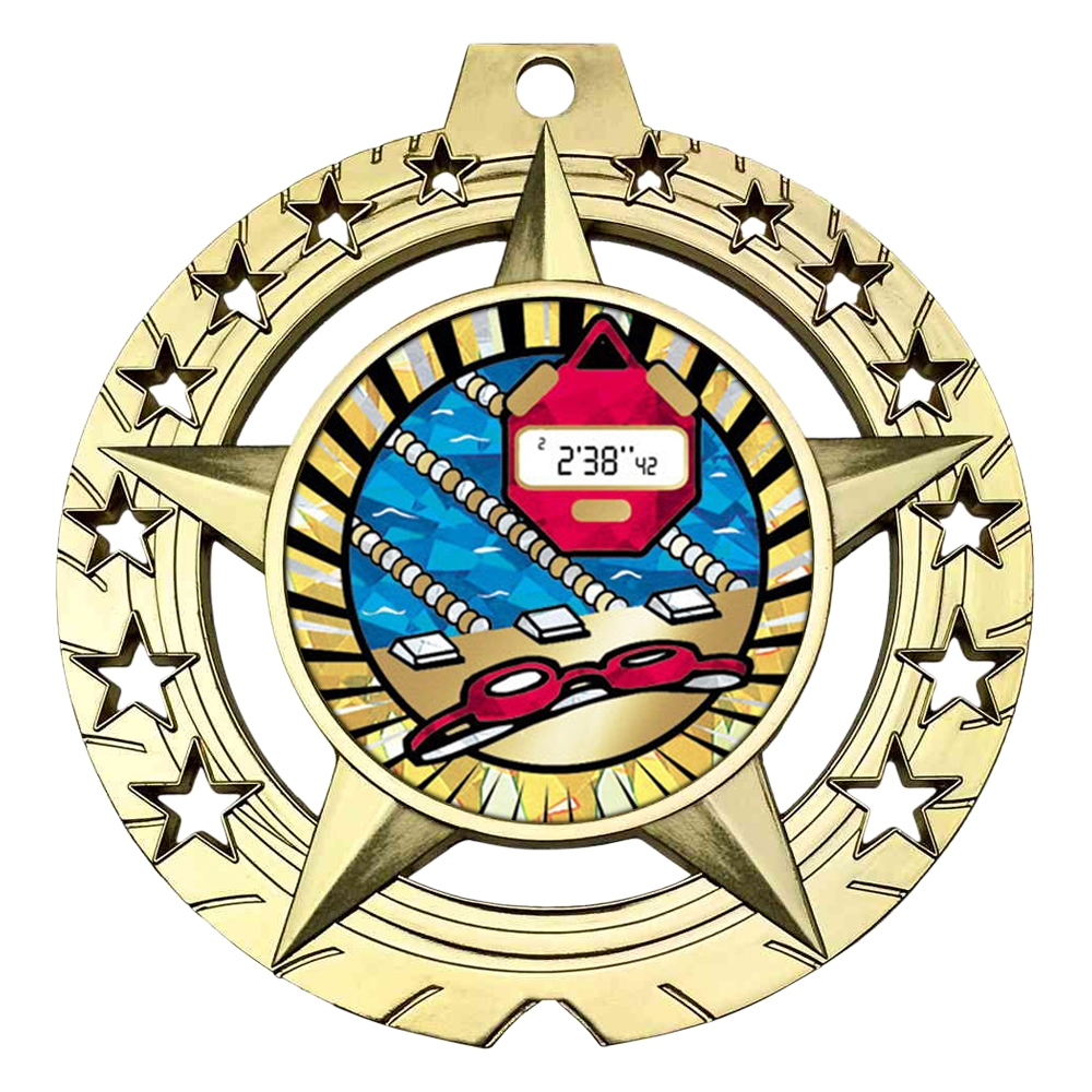 "Large 3-3/4"" Swimming Medal"