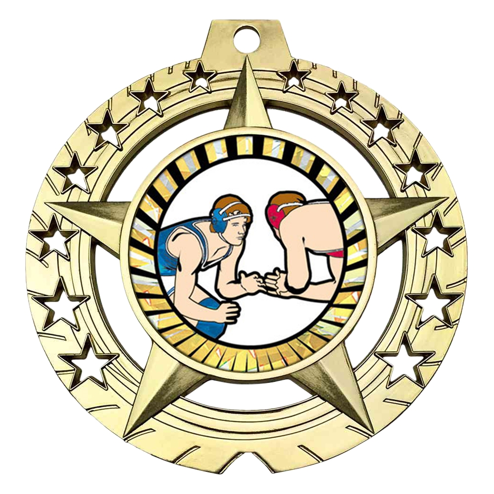 "Large 3-3/4"" Wrestling Medal"