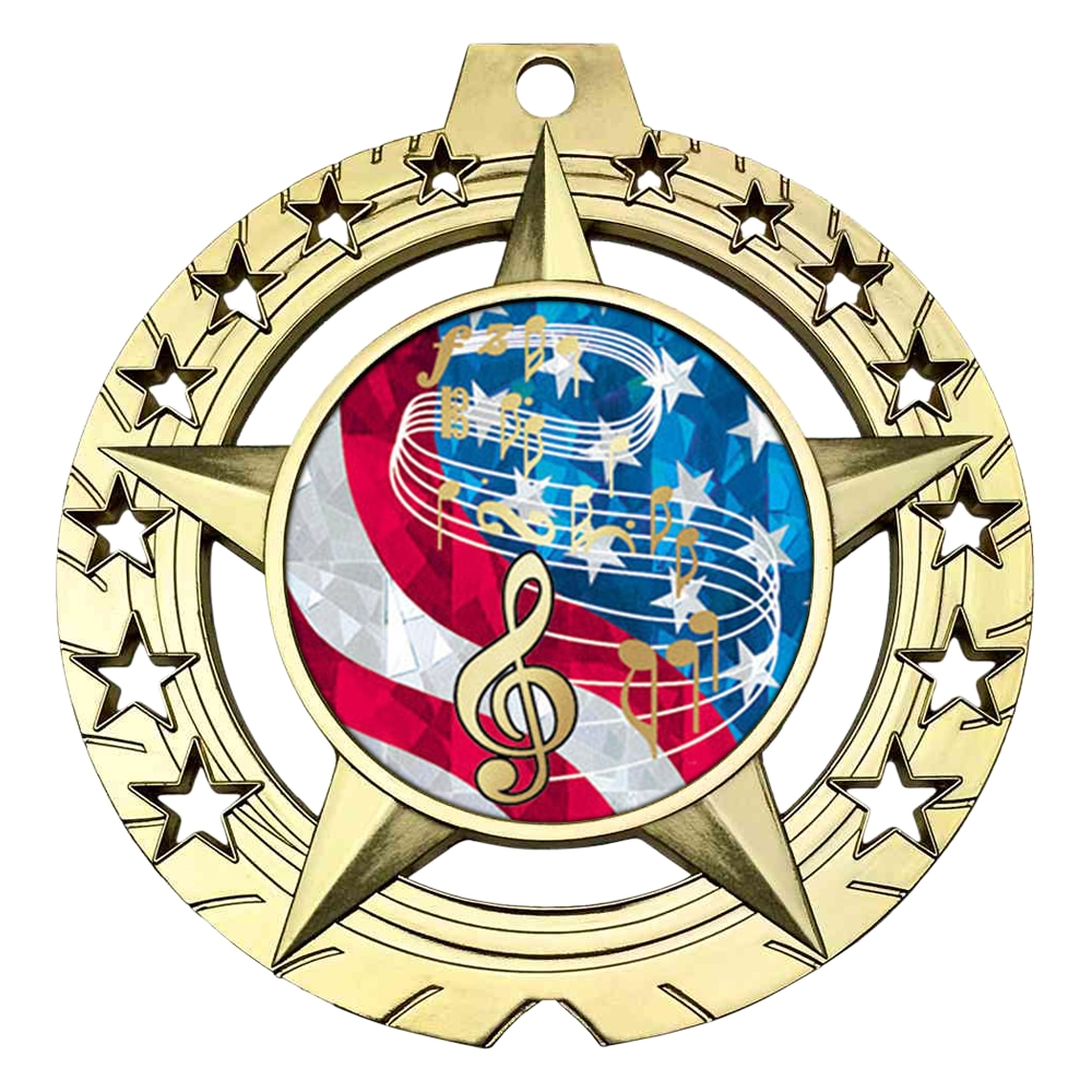 "Large 3-3/4""  Music Medal"