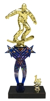 1st-5th Place Crossed Stars Riser Snow Boarding Trophy in 3 Sizes & Colors