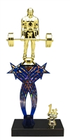 1st-5th Place Crossed Stars Riser Deadlift Weightlifter Trophy in 3 Sizes & Colors