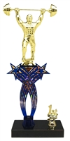 1st-5th Place Crossed Stars Riser Weightlifting Trophy in 3 Sizes & Colors