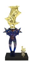 1st-5th Place Crossed Stars Riser Drama Trophy in 3 Sizes & Colors