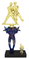 1st-5th Place Crossed Stars Riser FemaleJudo Trophy in 3 Sizes & Colors