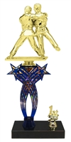 1st-5th Place Crossed Stars Riser Judo Trophy in 3 Sizes & Colors