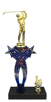 1st-5th Place Crossed Stars Riser Male Golf Trophy in 3 Sizes & Colors