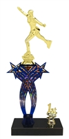 1st-5th Place Crossed Stars Riser Female Ice Skating Trophy in 3 Sizes & Colors