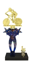 1st-5th Place Crossed Stars Riser Female Cycling Trophy in 3 Sizes & Colors