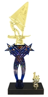1st-5th Place Crossed Stars Riser Windsurfer Trophy in 3 Sizes & Colors