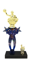 1st-5th Place Crossed Stars Riser Waterpolo Trophy in 3 Sizes & Colors