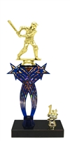1st-5th Place Crossed Stars Riser Male Cricket Trophy in 3 Sizes & Colors