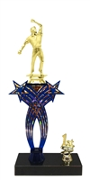 1st-5th Place Crossed Stars Riser Cricket Bowler Trophy in 3 Sizes & Colors