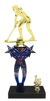1st-5th Place Crossed Stars Riser Female Field Hockey Trophy in 3 Sizes & Colors