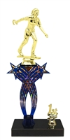 1st-5th Place Crossed Stars Riser Female Horseshoe Trophy in 3 Sizes & Colors