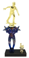 1st-5th Place Crossed Stars Riser Male Horseshoe Trophy in 3 Sizes & Colors