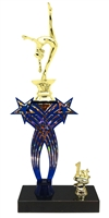 1st-5th Place Crossed Stars Riser Female Gymnastics Trophy in 3 Sizes & Colors